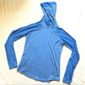 Under armour blue stripe long sleeve hooded t/ S